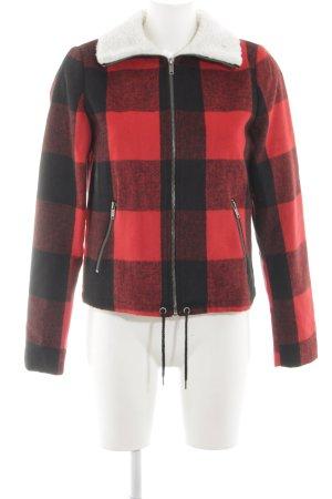 Noisy May Veste mi-saison noir-rouge motif à carreaux style décontracté