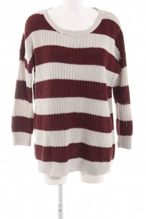 Noisy May Cable Sweater natural white-brown striped pattern casual look
