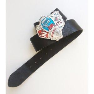 Nolita breiter Leder Gürtel mit großer NYC Schnalle 105cm schwarz Silber