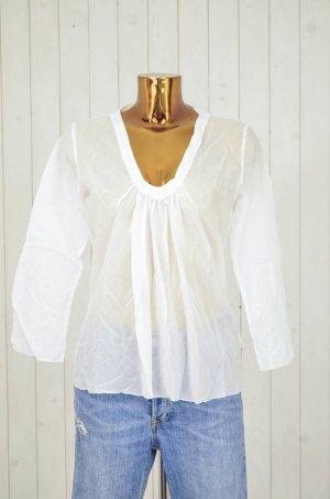 NOLITA Damen Bluse Baumwolle Weiß V-Ausschnitt Langarm Gr.ital.42/dt.36