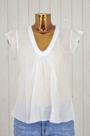 NOLITA Damen Bluse Blusentop Baumwolle Weiß V-Ausschnitt Gr.ital.42/dt.36