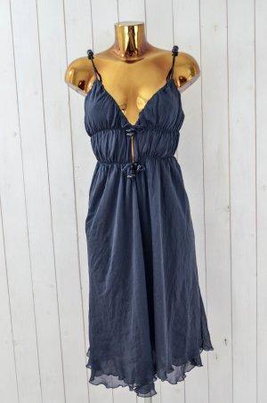 NOLITA Damen Kleid Trägerkleid Chiffon Seide Anthrazit Sommer Gr.ital 42/dt.36