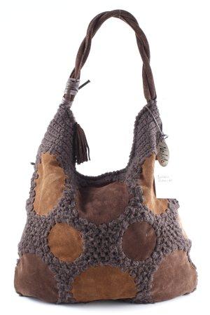 Nolita Carry Bag brown-dark brown weave pattern vintage look