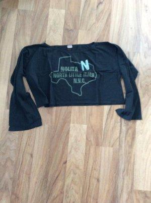 Nolita Kasten-Shirt, langärmelig, 80s, schwarz, Größe S/M