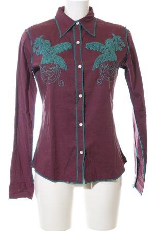 Nolita Camisa de manga larga rojo-turquesa estampado temático look casual