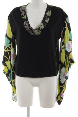 Nolita V-Ausschnitt-Pullover Blumenmuster Casual-Look