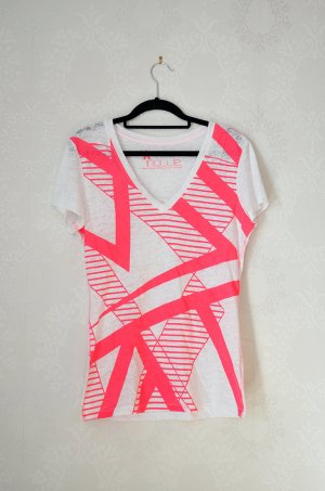 Nollie Shirt V-neck Neon Geometrisch Semitransparent Distressed