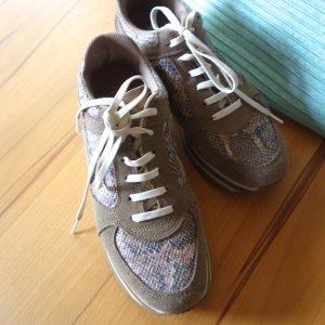 NoName Parko Jogger Sneaker, Leder, Kroko, Rauhleder, beige, braun