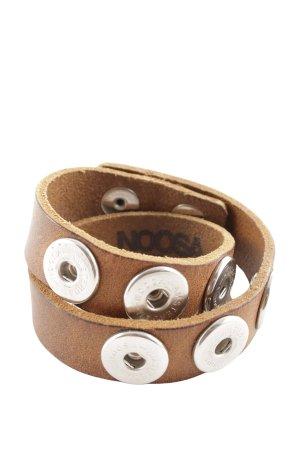 Noosa Bracelet en cuir brun-argenté style décontracté