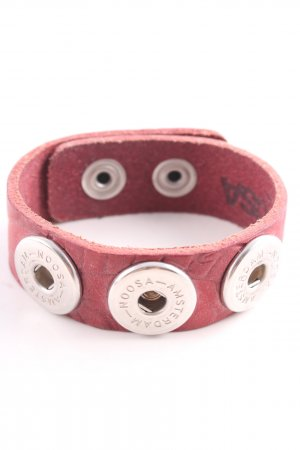 Noosa Leather Bracelet pink-silver-colored casual look