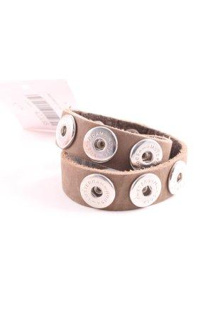 Noosa Bracelet en cuir rose chair-argenté style décontracté