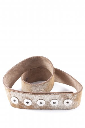 Noosa Leather Belt camel-silver-colored abstract print boyfriend style