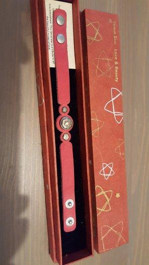 Noosa Petit Venus Star Leder Armband Größe S, rot, mit Chunk (kann gewechselt werden)