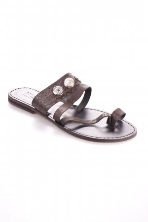 Noosa Zehentrenner-Sandalen dunkelbraun Aztekenmuster Boho-Look