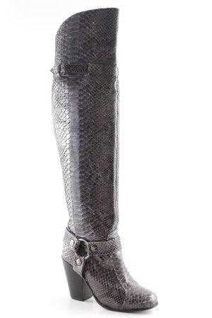 Nordenfeldt Absatz Stiefel grau-graubraun Fischgrätmuster extravaganter Stil