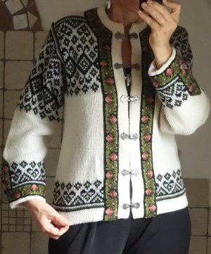 Vintage Cárdigan de estilo noruego blanco puro-verde bosque lana de esquila