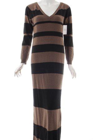 Northland Strickkleid schwarz-graubraun Streifenmuster Casual-Look