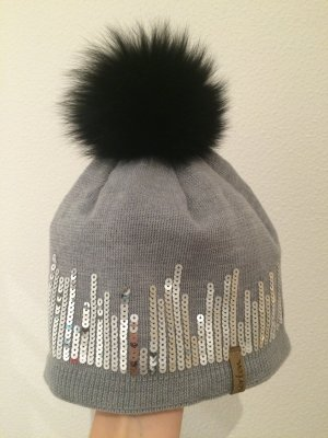 Norton Pailletten Mütze in grau