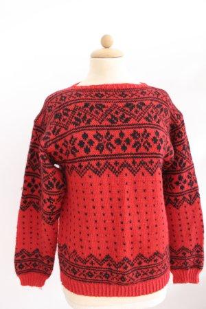 Noorse trui neonrood-zwart