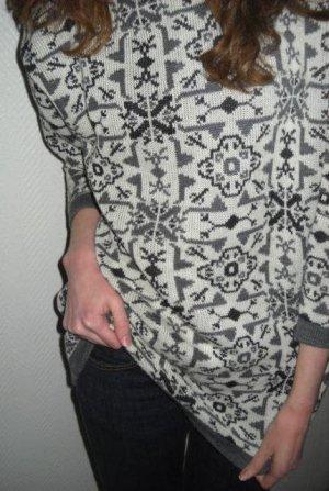 Norweger Strick Long Pullover Pulli Rolli Rollkragen grau 34 36 38 XS S H M