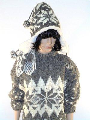 Norwegian Sweater cream-brown wool