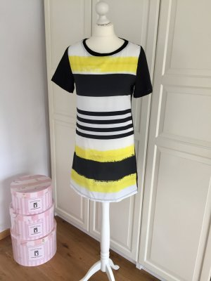 Noshua Kleid schwarz gelb weiß gestreift M