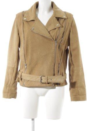 Nostalgia Leather Jacket camel biker look