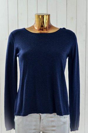 NOT SHY Damen Strickpullover Pullover Cashmere Seide Dunkelblau Rundhals Gr. M