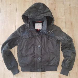 Not the Same Bomberjacke Warmfutter abnehmbare Kapuze Herbst Winter Outdoor Jacke Filz Grau S 36