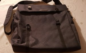 Laptop bag dark grey-black textile fiber