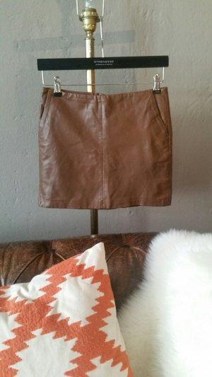 Zara Jupe en cuir brun cuir