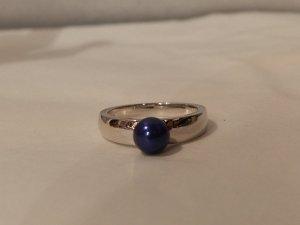 Anello d'argento argento-blu scuro
