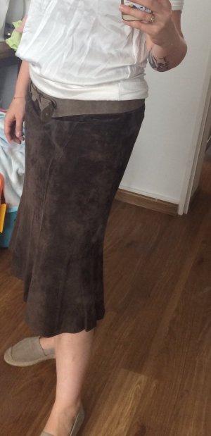 Monari Falda de cuero color bronce Gamuza
