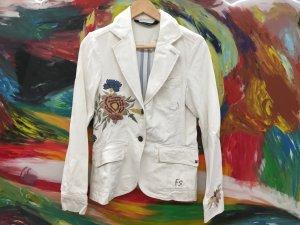 NP 129€ - Bestickte Jacke, Jeans Blazer von Freesoul gr S 36 weiß