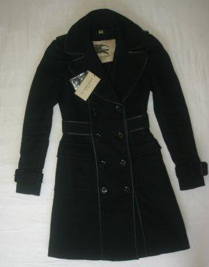 NP:1290€ Burberry Trenchcoat Mantel Gr.32 XS/XXS schwarz Wolle Leder