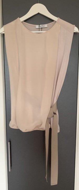 NP 300€!!! Neu Max Mara Damen Seiden Top Nude Bluse Tunika Oberteil M 36