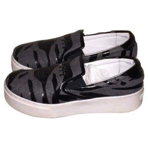 NP 420€ Kenzo Paris Sneakers Turnschuhe aus Canvas Grau Schwarz 39 Schuhe