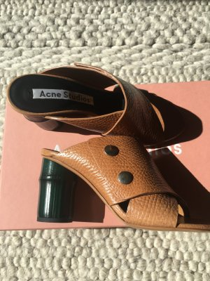 Acne Comfort Sandals beige-forest green leather