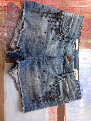 Np 99,90€ Skinny Short 27 nieten bronze antikgold Stacheln destroyed cut off Look Stretch Punk Rock Biler