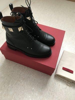 Valentino Botines negro-color oro Cuero