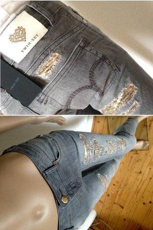 NP269€ TWIN-SET Barbieri Skinny Jeans Röhrenjeans Slim S 25 26 grau