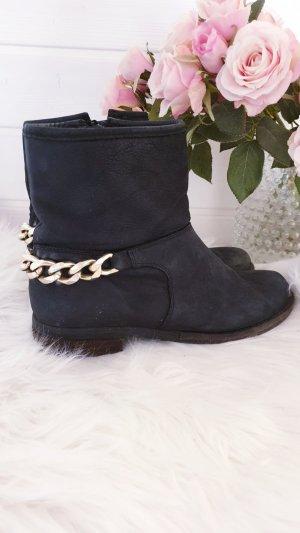 Nubikk Boots Schuhe Sneaker Boho Chelsea Boots Leder Cowboy Statement Gold Kette Schwarz 39