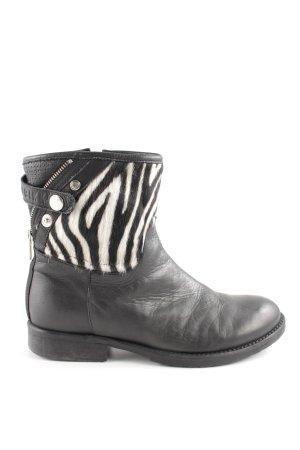 Nubikk Reißverschluss-Stiefeletten schwarz-weiß Animalmuster Casual-Look
