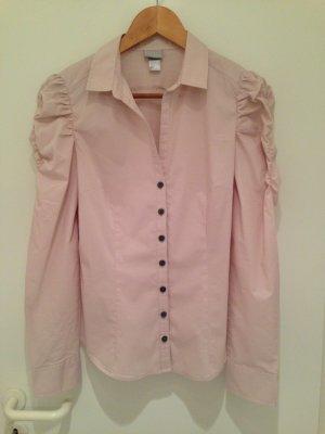 Nude-farbene Bluse mit gerafften Ärmeln von H&M in Größe 40
