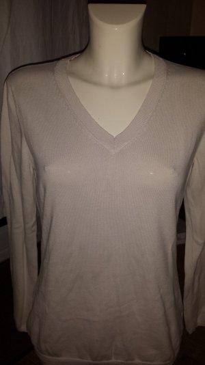 Nude farbene V-Ausschnitt Pullover