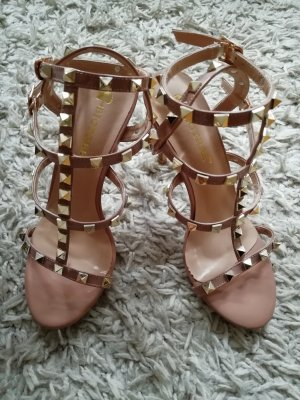 Strapped High-Heeled Sandals gold-colored-nude