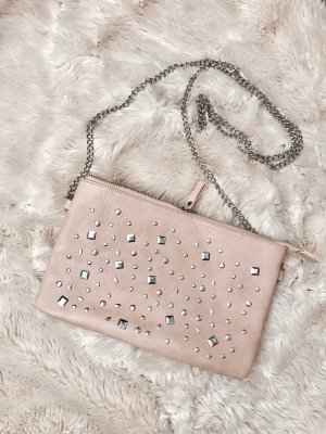 Clutch stoffig roze-zilver Imitatie leer