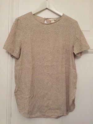 Nudefarbenes Shirt mit Punkten