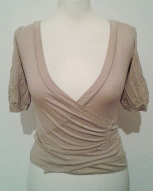 Nudefarbenes Wickeltop von Mango Casual Sportswear