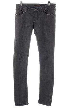 Nudie jeans Skinny Jeans grau Logo-Applikation aus Leder